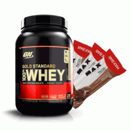 100% Whey Protein Gold Standard (909g) + 3 Max Bar (30g)